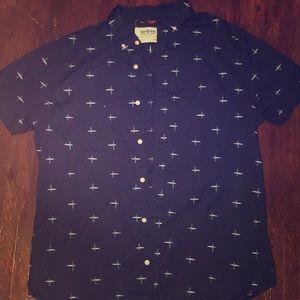 Navy Blue Patterned Button-Up Short Sleeve Shirt